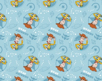 Disney Fabric Toy Story Fabric Woody Fabric in Blue From Camelot 100% Cotton