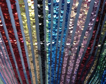 New!!High Quality 1 Yard Multicolor Sequin Fabric,Stripe Sequin Dress Fabric,Mix-6 Colors Sequins Embroidered on Mesh Fabric,