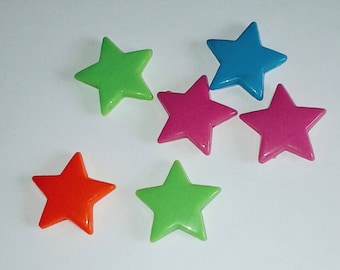 X 6 large beads star mix color 27mm