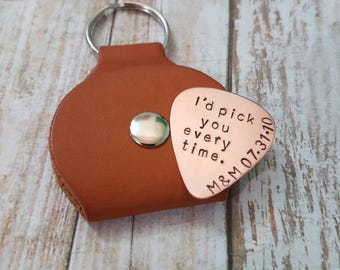 I'd pick you every time personalised 10th wedding anniversary Copper hand stamped Guitar pick gift with leather Keychain pick case