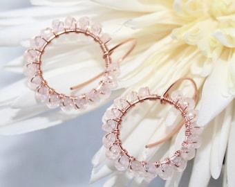 Feminine Morganite Circle Dangle Earrings, Wire Wrapped, 14K Rose Gold filled, Natural Pastel Pink Morganite Hoop, Pink Aquamarine Gemstone