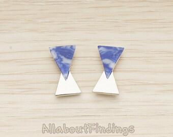 ERG412-R-BL // Glossy Original Rhodium Plated Blue Earpost, 2 Pc