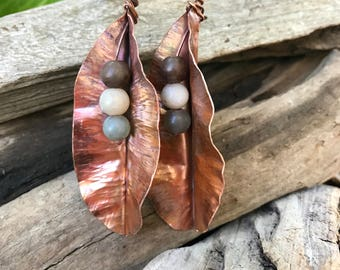 Fold Formed Hammered Copper Leaf and Stone Earrings