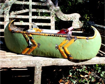 Lake House Canoe Recycled Tin Bus for Ice Bucket or Flowers and Favorite Snacks