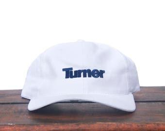 Vintage 90's Turner White Strapback Hat Baseball Cap