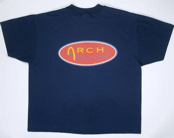 90s T Shirt McDonald's Arch Deluxe L/XL hamburger navy blue graphic tee restaurant hipster Grown up taste humor funny golden arches big mac