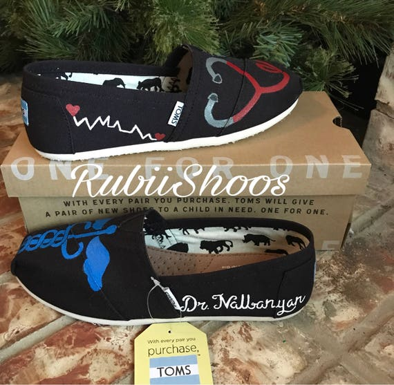 RubiiShoos Original- Personalized- Nurse- Stethoscope- Paramedic- Medic Shoes- Hand Painted- Painted Shoes- Registered Nurse- Nurse Gift- Cu