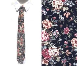 Vintage Floral Cotton Tie,Romantic Tie,Made in Canada,Summer Beach Wedding Necktie,Gender Neutral Boho Hippie Hipster Tie,Flower Power