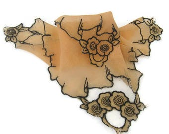 Unusual Vintage Lace Hanky, Orange and Brown Handkerchief with Lace Trim,Victorian Goth Style,Halloween Wedding, Unique Hanky