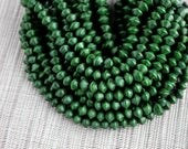 8mm Olive Green Saucer Bicone Wood Beads - Dyed and Waxed - 15 inch strand