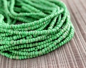 2-3mm Hemlock Green Pastel Coconut Shell Pucalet Rondelle Beads Dyed and Waxed 15 inch strand