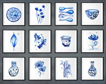 Asian art, Blue and white art, Watercolor painting, Kitchen art Set of 12 Ginger jar, Ming vase, Indigo blue Porcelain Ming dynasty Oriental