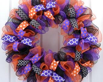 Halloween wreaths for front door - Halloween wreath - Halloween Deco Mesh Wreath - Halloween Mesh Wreath - Halloween Wreath - Purple Wreath