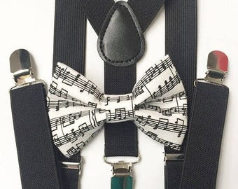 FREE DOMESTIC SHIPPING! Black suspenders and music notes bow tie kids boy boys teens adult wedding pictures birthday formal