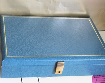 Large Blue & Gold Jewellery Box with original key. By Tallent of Old Bond Street, London, England.  c1960's. Vintage Keepsake Box.