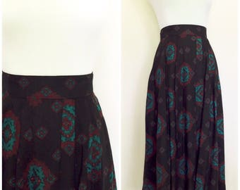 90s Navajo Print Midi Vintage Skirt