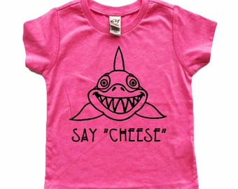 Say Cheese Shark tee for infants, toddlers, and children
