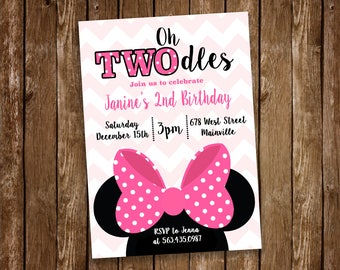 Minnie Mouse Birthday Party Invitation, TWOdles, 2nd Birthday, pink Minnie - Digital or Printed