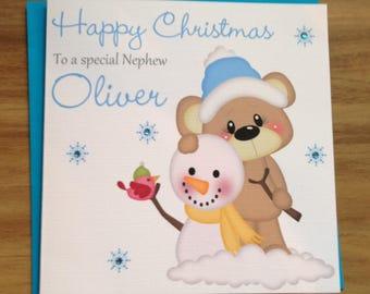 Handmade Personalised Cute Bear & Snowman Boy Christmas Card Son/Nephew/Brother/Grandson +