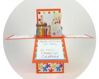 Paint Party Invitation, Art Party Invitation, Paint Party, Art Party, Paint Birthday Invitation, Art Birthday Invitation, Popup cards