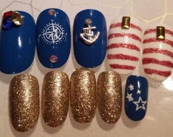 Press on Nails Patriotic 4th of July Nautical