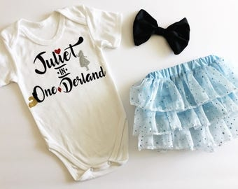Alice in OneDerland - first birthday Alice in Wonderland theme onesie skirt headband set - customize add child's name - birthday outfit