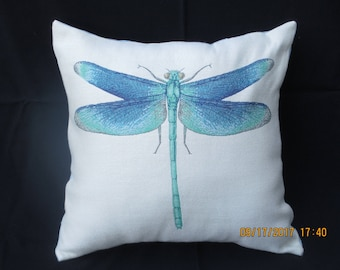 Natural and Turquoise-Blue Dragonfly Motif Decorator Pillow Cover
