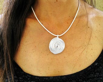 Leather necklace with pendant, Spiral necklace, Wrap Necklace, Leather necklace, Leather pendant necklace, Silver pendant necklace,