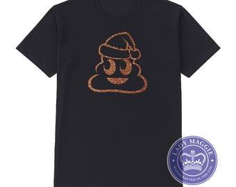 Bronze Glitter Santa Poo T-Shirt - Christmas Poop Emoji Shirt - Glittery Santa Poop Shirt - Santa Poo Shirt - Brown Glitter Poo - Santa Poop