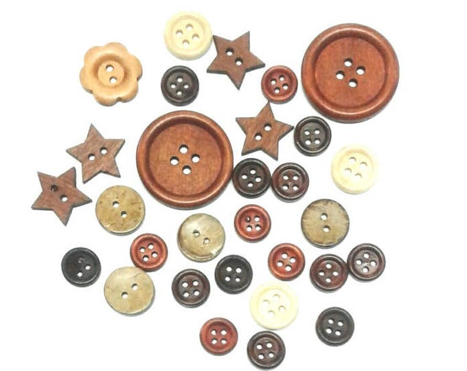 30 Assorted Mixed Wooden Buttons Pack 1