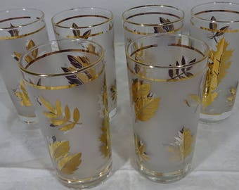 Vintage Libby Gold Leaf Tall Glasses - Retro - Mid Century Modern - Collectible - 5.5 tall x 2.5 across - Set of 6 - Near Perfect Condition