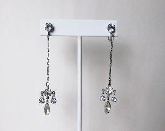 Art Deco silver tone 3 inch long drop paste rhinestone paper clip chain screw back earrings