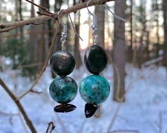 Pyrite, Blue Green Kyanite and Amber Earrings