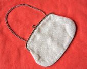 Pretty little vintage evening bag in lurex fabric with a chain handle