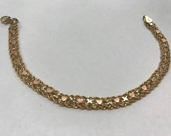 Vintage 14K Tri Color Gold Unique Rope Heart XOXO 5.5mm Bracelet 5.8 Grams!