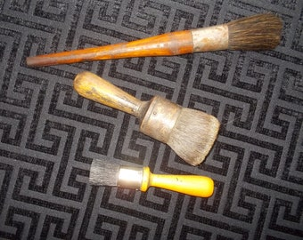 Vintage Paint Brushes, Set of 3  Wood handles Pure Bristles