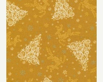 Christmas in July SALE Holiday Editions Tree/Reindeer Gold~Christmas Cotton Fabric by~Fabri-Quilt Fast Shipping HC561
