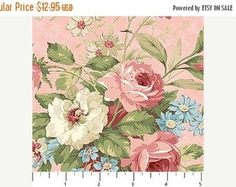 Summer Sale- Vintage Rose~Large Bouquet on Pink~Cotton Fabric,~Northcott~Fast Shipping F964