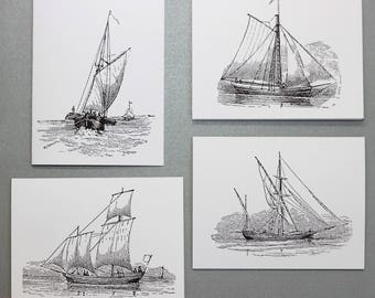 Classic Sailboat Stationary.  Set of 8 Notecards and White Envelopes.