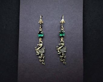 Dragon Earrings Emerald Swarovski Antiqued Brass FREE SHIP USA