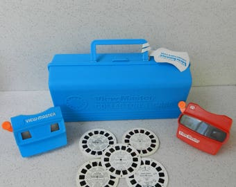 Vintage View-Master Collector's Case with 2 Viewers and Assorted Reels, GAF Viewmaster, 3D, 3-D, Disney, Casper, Barbie, Snow White, Goofy