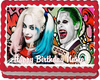 Harley Quinn and Joker Edible Cake Topper Image Quarter Sheet Cake Decoration, Harley Cake, Joker Cake, Edible Photo for Cake