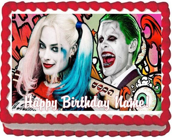 Harley Quinn And Joker Edible Cake Topper Image Quarter Sheet
