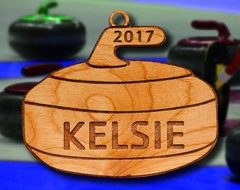 Wooden Curling Ornament