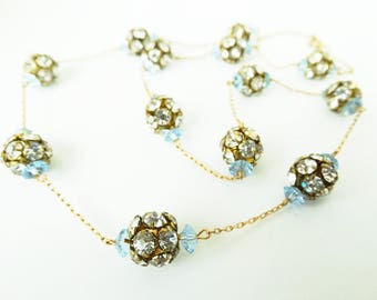 Rhinestone and Blue Crystal Bead Chain Necklace