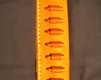 Leather Cartridge Belt slide holder, .22 s, l, lr, .17 mac 2, .17 hmr, .22 magnum, 10 round