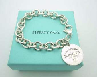 "Please Return To Tiffany & Co. Sterling Silver Round Tag Bracelet 7 1/2"" with Box"