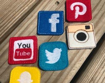 Handmade Set of 6 Social Media Facebook Pinterest Instagram Twitter Snapchat YouTube Felties