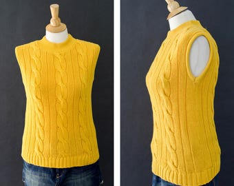 Vintage Yellow Fisherman Sweater, Sleeveless Sweater Vest, 90s Turtleneck Sweater, Cotton Chunky Cable Knit Sweater, Women's Size Small