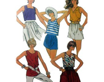 Women's Tank Top Sewing Pattern, Pullover Sleeveless Shirt Misses Size 6, 8, 10 Uncut Easy to Sew Simplicity 7496